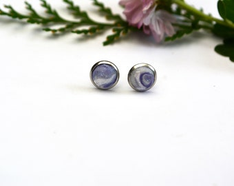 Polymer Clay Earrings Tiny Round Stud Earrings Everyday Earrings Marbled Silver and Lilac Studs Sparkly Earrings