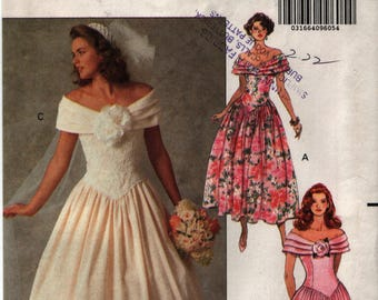 Butterick 5252 1991 Beautiful Wedding/Formal/Prom/Bridal/Evening Dress/Gown Sz 12-14-16 UNCUT