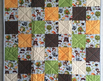 Handmade Baby Quilt, Baby Forest Animals, Deer, Raccoons, Owls, Foxes
