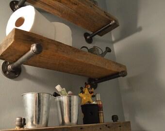 Single Reclaimed Barn Wood Floating Shelf