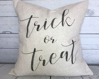 Trick or Treat Pillow Cover | Halloween Pillow Cover | Rustic Pillow Cover | Farmhouse Pillow | Holiday Pillow Cover | Made To Order