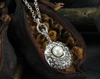 Silver Pearl Pendant, Unique Pearl Necklace, 925 Sterling Silver, June Birthstone, Wedding Jewelry, Bridal, Bridesmaid Gift Y175