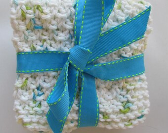 Hand-Knitted Washcloths / Dishcloths - Aqua, Blue Ombre and White, Blue and Sea Green Fleck - Set of 3 - Bright, Cheerful Fun!  Great Gift!