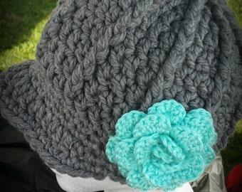 Crochet newsboy hat - newsboy hat with flower  - grey newsboy hat - teal flower -brim hat - crochet hat - crochet beanie -birthday gift