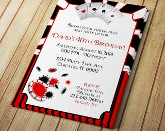 Poker Night Invite Etsy - Party invitation template: casino theme party invitations template free