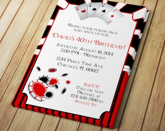 Poker Night Invite Etsy - Party invitation template: casino theme party invitations template