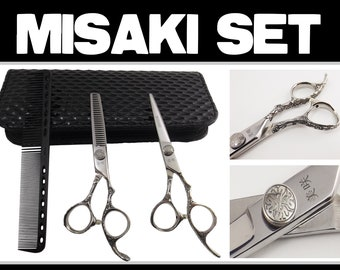 Hair Scissors Set Brand New Misaki with cloth,comb,oil and a case PF30