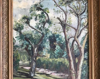 Antique oil painting trees with original frame France