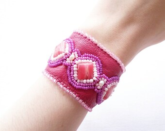 Leather bracelet pink,leather bracelet,leather wristband,woman leather bracelet
