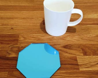 Octagon Shaped Blue MIrror Finish Acrylic Coasters