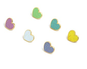 Valentines Day Gift for Her, Rainbow Hearts, Pastel Heart Enamel Pins, Glitter Enamel Pin, Glitter Heart Jewelry, Heart Mini Pins, Heart Pin