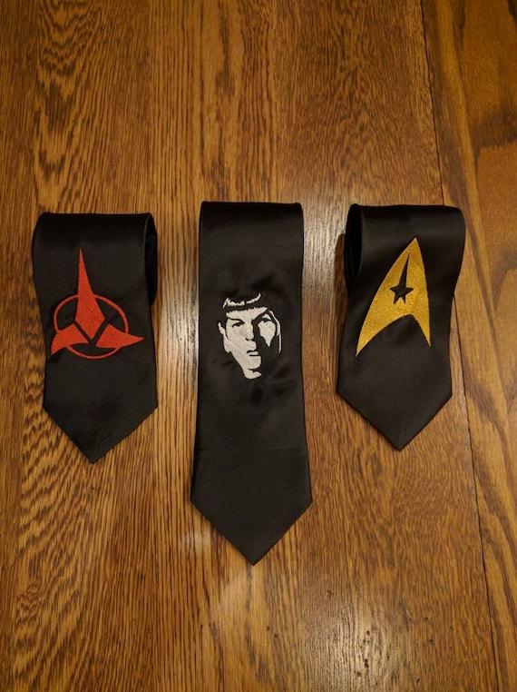 Custom Star Trek Tie (scifi, trek, star trek, enterprise, klingon, spock, prosper, live long, fun ties, necktie)