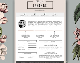 Resume template feminine resume and free cover letter 3 page resume template cv template cover letter for ms word and pages yelopaper Choice Image