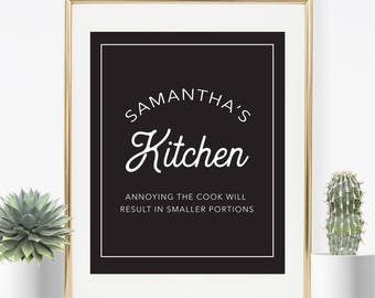 Personalized Kitchen Art, Kitchen Print, Housewarming Gift, Kitchen Art, Personalized Art, Mother's Day Gift