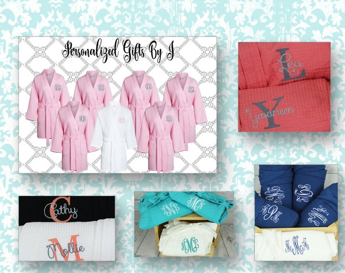 12 Personalized Bridesmaids Robes, Monogrammed Robe, Waffle Robe, Personalized Bridesmaid Gifts, Getting Ready Robe