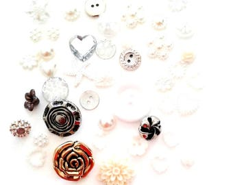 Assorted Buttons and Flatback Resins in Cream White and metalic shades PACK 1