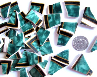 40 Gree Mosaic Pieces, Broken China Tiles, Broken Plate Pieces, Repurposed Dishes, Tiles for Mosaics, Mosaic Supplies, Mosaic Tiles Green