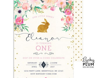 Rabbit Birthday Invitation / Bunny Birthday Invitation / First Birthday Invitation / Woodland Pink Gold / Digital Printble RB01