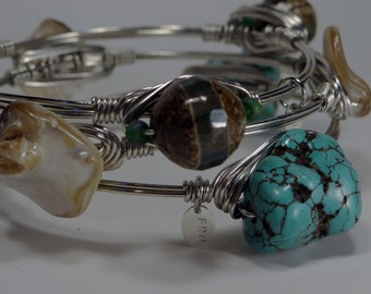 Turquoise and brown wire-wrapped bangle set