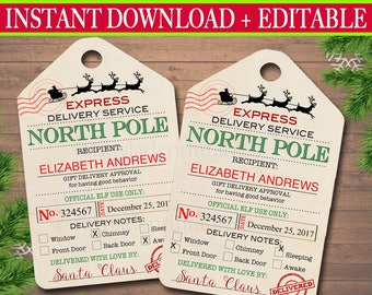 EDITABLE North Pole Delivery Tags, Santa Gift Tags, Santa's Nice List, Holiday Gift Labels Template, Elf Delivery Tags, INSTANT DOWNLOAD