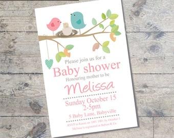 Bird Nest Baby Shower invitation  (PINK) DIY Printable Baby shower girl Bird theme baby shower baby girl baby shower invitation