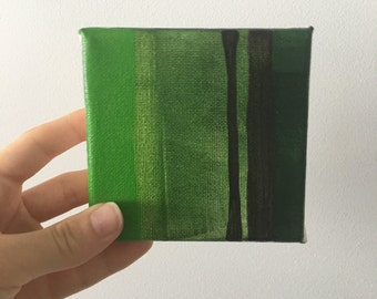 Mini Studies Green shades canvas 4x4