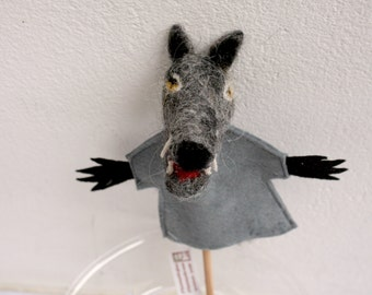 the wolf, handmade handfelted finger puppet