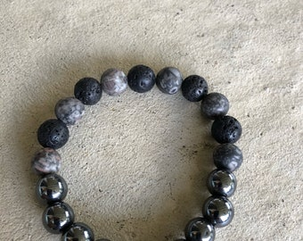 Hematite, Lava and Agate Beads with Silver bead from Bali.
