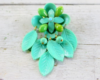 Early Plastic Brooch Dangle Turquoise Flower 1930s 1940s
