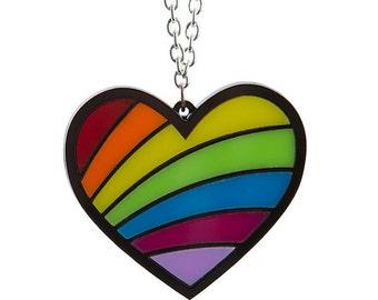 Rainbow Heart necklace - laser cut acrylic