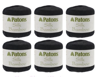 Bulk Buy! 6 Pack of COAL Patons Silk Bamboo. Black DK lightweight yarn. Bamboo / silk blend for Excellent drape and shine.  6 balls total <