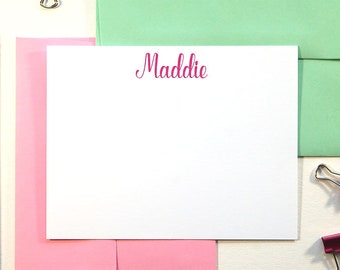 Girls Stationary Set of 12, Personalized Stationery for Girls, Birthday Thank You Cards, Graduation Gift, Camp Stationary, Calligraphy