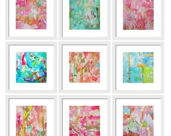 Set of 9 Prints-Home Decor-Gallery Wall-Art Prints-Living Room Decor-Office Wall Decor-Coastal Wall Art-Modern Art- Pink-Lake House Decor