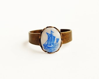 Sailboat Ring Sail Boat Nautical Jewelry Vintage Blue Delft Cameo Ring Small Blue Glass Ring Sailboat Jewelry
