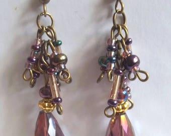 Purple bronze drop earrings