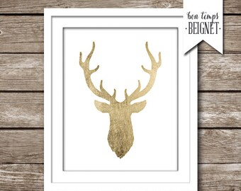 "Deer Silhouette - 8x10"" Gold Foil Look - Instant Download - Woodland - Whimsical - Printable Art"