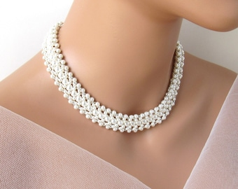 Pearl Choker Necklace Multi Strand, Pearl Choker Bridal, Pearl Choker Wedding, Pearl Necklace Choker, WHITE OR IVORY Pearl, Pearl Jewelry