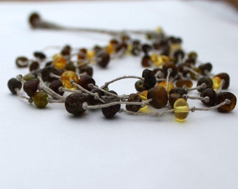 Raw  Amber Healing Necklace / Natural Dark Amber / Earthy Colors / Eco Friendly Valentines Day Gift for Her / Rustic Zen Style Jewelry