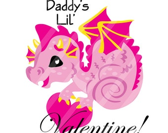 Daddy's Little Valentine Dragon Digital Download for iron-ons, heat transfers, T-Shirts, Onesies, Bibs, Towels, Aprons, DIY YOU PRINT