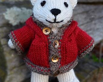 Made to Order Hand Knit Polar Bear- Christmas - Stuffed Animal-Plushie