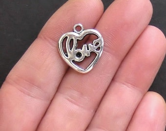 8 Love Heart Charms Antique  Silver Tone - SC287