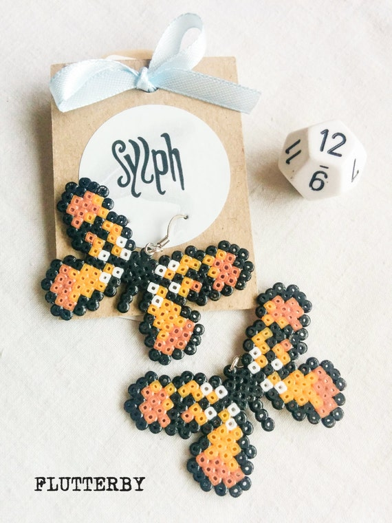 Teddybear brown and orange 8bit Flutterby earrings made of Hama Mini Perler Beads in retro games' style, for butterfly lovers!