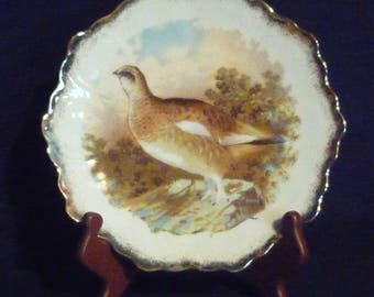 Zeh Scherzer & Co. Punch Made in Bavaria Germany Grouse Gamebird Decorative Hanging Plate