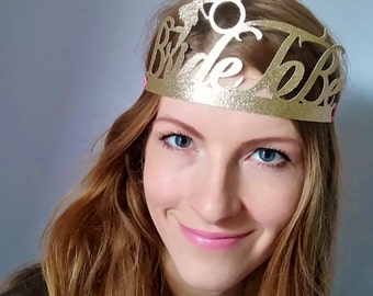 Bride To Be crown, Bachelorette party decorations, Bride to be tiara, Gold glitter paper Bachelorette crown, Bachelorette party favors