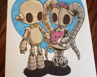 Robot Bride and Groom - Original Artwork