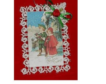 Vintage Style Victorian Christmas Card Tree Ornament - Winter Couple - Unique - Christmas Greetings - Holiday Keepsake - Party Favor - Gift