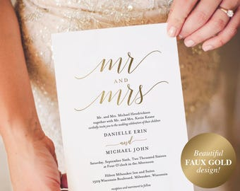 Gold Wedding Invitation, Wedding Invitation Template, Wedding Invite, Faux Gold Wedding Invitation, Mr and Mrs, Instant Download #BPB324_1B