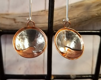 Nautical Sterling Silver & Copper Wave Dome Dangle Earrings / Handmade / Maine made jewelry / gift for her / mixed metal earrings