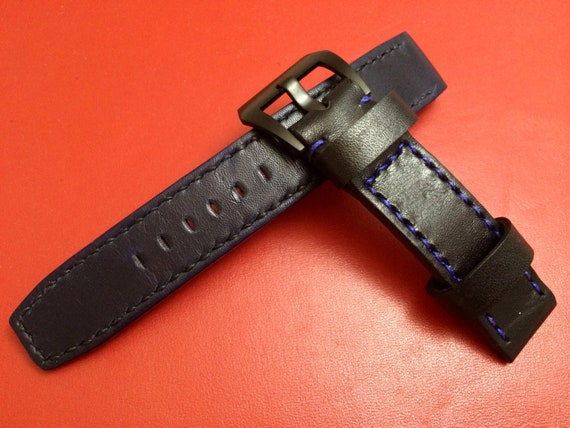 Leather watch strap, Blue leather watch band, 20mm strap, 19mm watch strap, 20mm watch band, watch band, Blue, 16mm Buckle, FREE SHIPPING