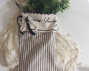 "French Farmhouse Christmas Stocking Black Cream Ticking French Script Vintage Button Ribbon Trim 19"" Country French Shabby Chic Cottage"